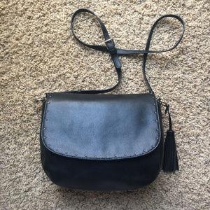 LRL Leather Monogram Tassel Crossbody Bag